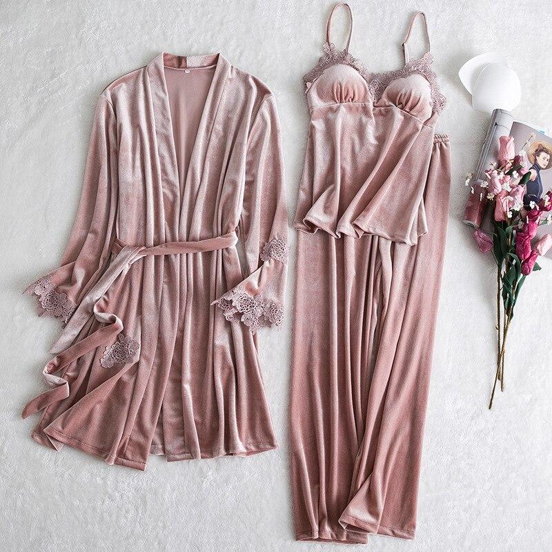 3 pçs sleepwear sleepwear conjunto das mulheres de veludo roupa de noite primavera robe com decote em v rendas pijamas softy vestido pijamas pijamas terno