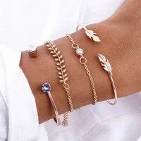 4pcsset geometric crystal charm bracelets for women gold leaf bangles bracelets set simple wrist chain lady boho bracelet 2021
