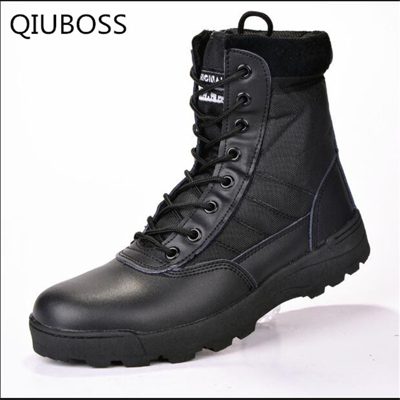 Botas de invierno Cuero militar botas para hombres botas de combate de infantería botas tácticas askeri bot ejército zapatos erkek ayakkabi Q718