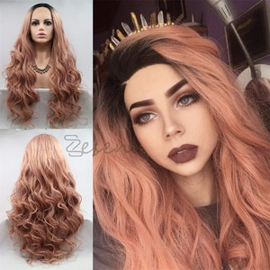 Synthetic Lace Front Wig For Women 24 Inch Wavy Wigs Fake Hair Extension Heat Resistant Pink Cosplay Wig  For Black Women