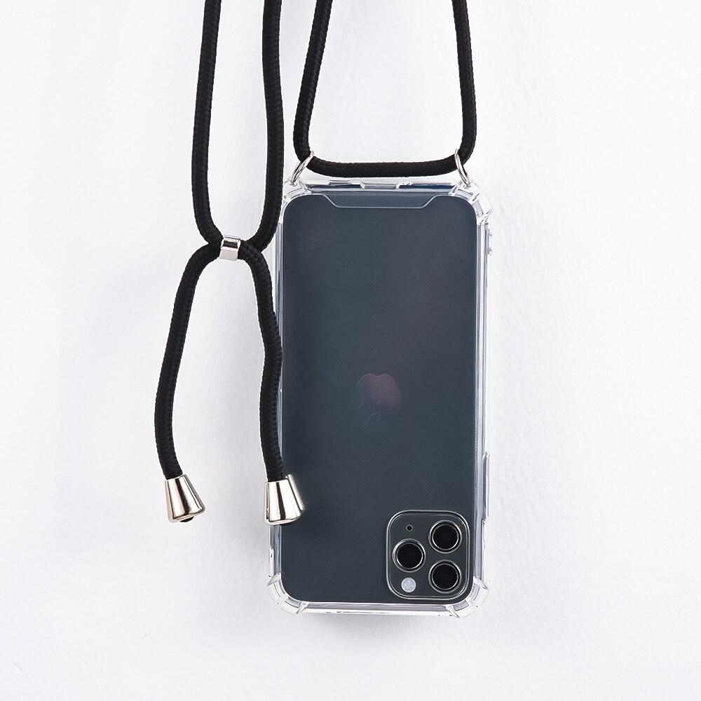 Venta caliente caja del teléfono para iPhone 11Pro 11 Pro Max 2019 Airbag cubierta de silicona TPU caso Coque con cordón de la correa para iPhone 11