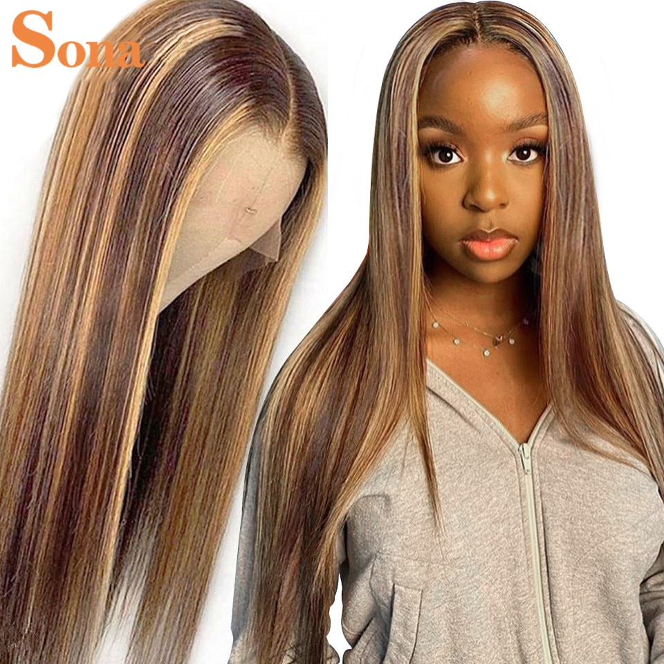 Wholesales Price Transparent Lace Frontal Wigs Highlight 27 Honey Blonde Brazilian Remy Ombre Lace Front Human Hair Wigs