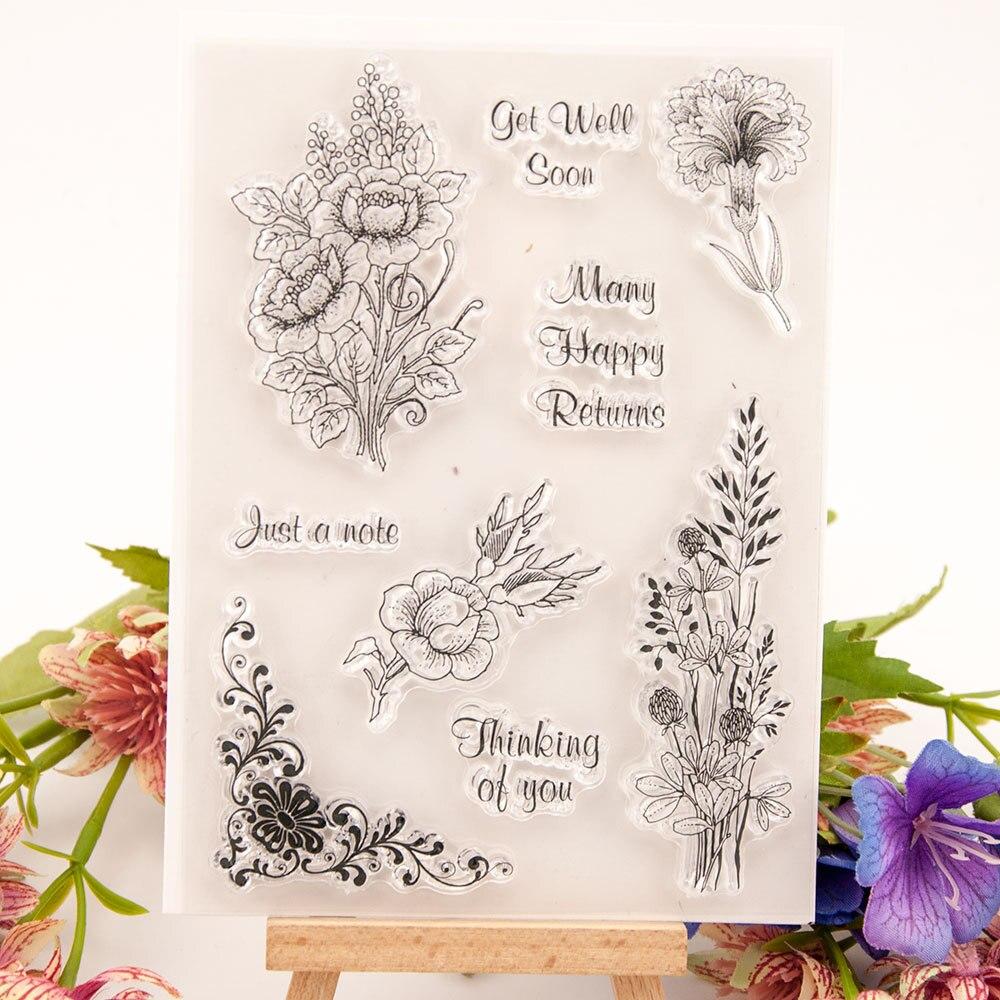 Sello de silicona transparente ZFPARTY flores juego de troqueles de corte para álbum de recortes DIY/álbum de fotos decorativo