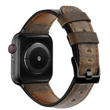 Correa de cuero para Apple watch, 44mm, 40mm, 42mm, 38mm, correa de reloj Retro de vaca para iWatch, pulsera para Apple watch serie 5 4 3 se 6 7