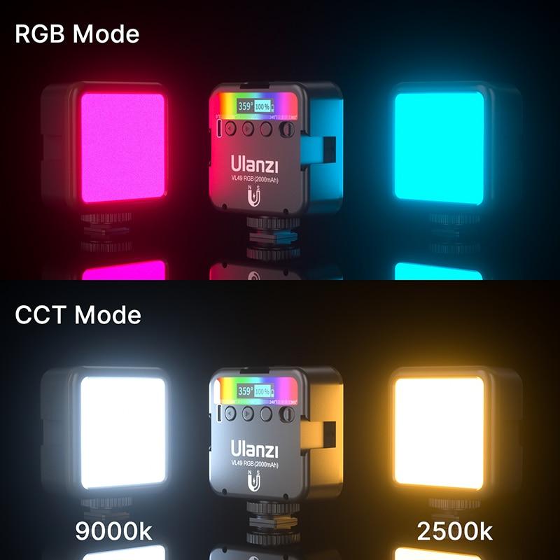 Ulanzi VL49 RGB Full Color LED Video Light 2500K-9000K 800LUX Magnetic Mini Fill Light Extend 3 Cold Shoe 2000mAh Type-c Port