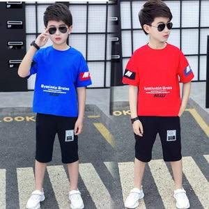 Children Boys Clothes Set 5-11 Years Letter Print T-Shirt + Shorts Fashion Summer Casual Kids Boys Sports Clothes Suit 2 Pieces