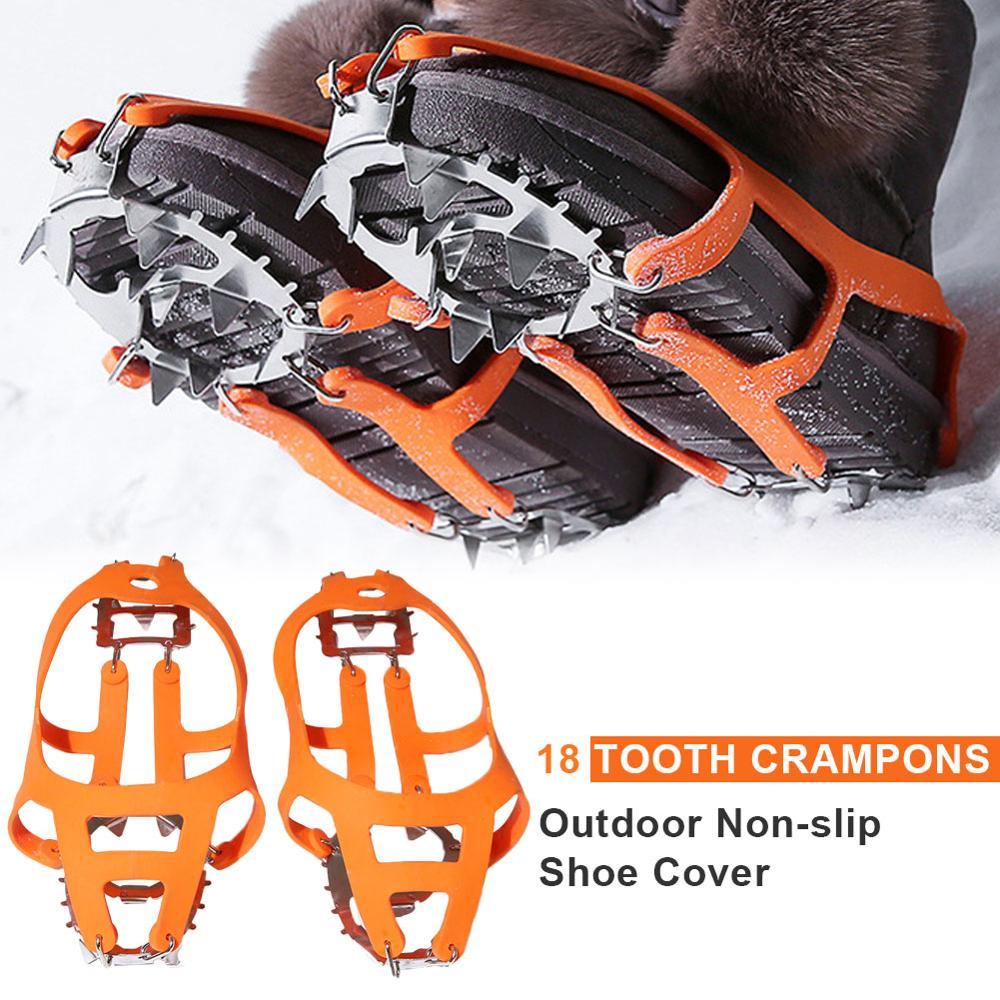18 Teeth Climbing Crampons Anti-ski Climbing Shoe Cover for Walking Jogging Fishing Hiking on Snow and Ice Climbing Equipment