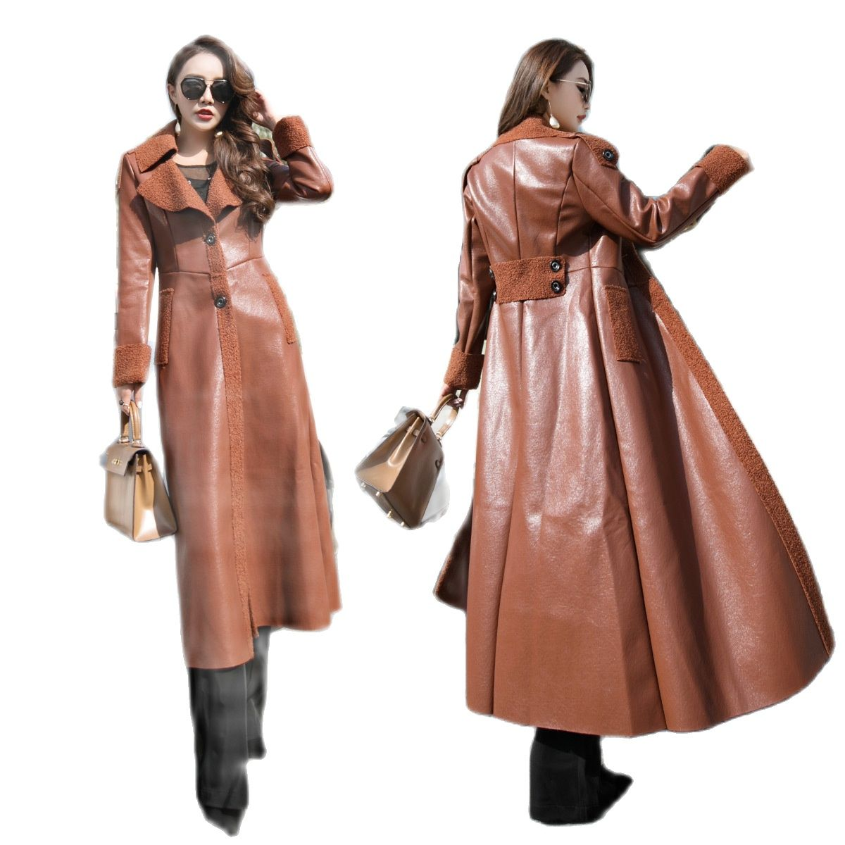 2021 Women's fur coat long leather coat Korean thickened lamb fur one coat over the knee Pu cotton padded jacket winter jacket