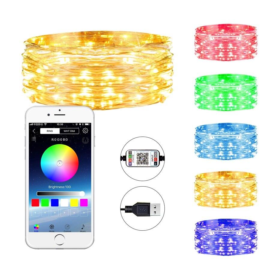 Luces de hadas LED RGB de Zhongji luces LED USB Decoración de luces de hadas Luz de hadas al aire libre de la boda decoración del partido del hogar Luz de Navidad