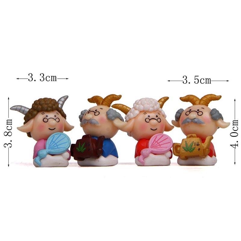 4Pcs Kawaii Cartoon Sheep Character DIY Decoration Crafts Fairy Garden Miniatures Bonsai Ornaments Home Decor Christmas Gifts