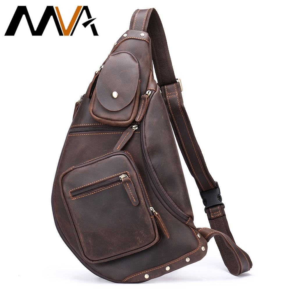 MVA Full Grain Leather Sling Bag For Men Fits 9.7 Inch Tablet Vintage Small Shoulder Crossbody Bags Hiking Tactical Daypack 6012