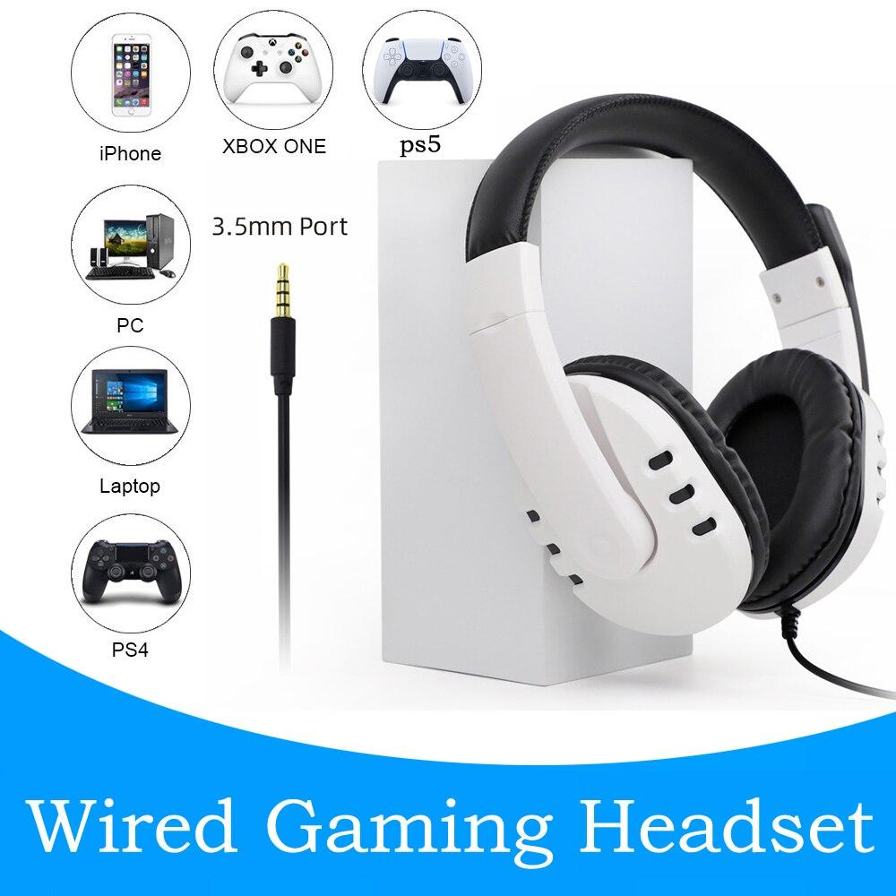 Ps5 com fio fone de ouvido gamer pc 3.5mm para xbox um ps4 ps3 ns fones de ouvido surround som jogos overear portátil tablet