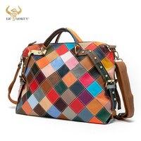Top Quality Multi-Color Soft Leather Luxury Ladies Patchwork Large Shopper Handbag Shoulder bag Women Design Female Tote bag 600