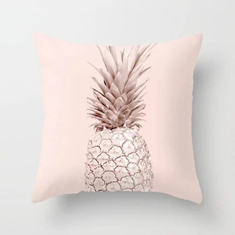 Funda de almohada de 45x45cm, funda de cojín decorativo para sofá de poliéster con purpurina y piñas geométricas de oro rosa, funda de almohada para decoración del hogar
