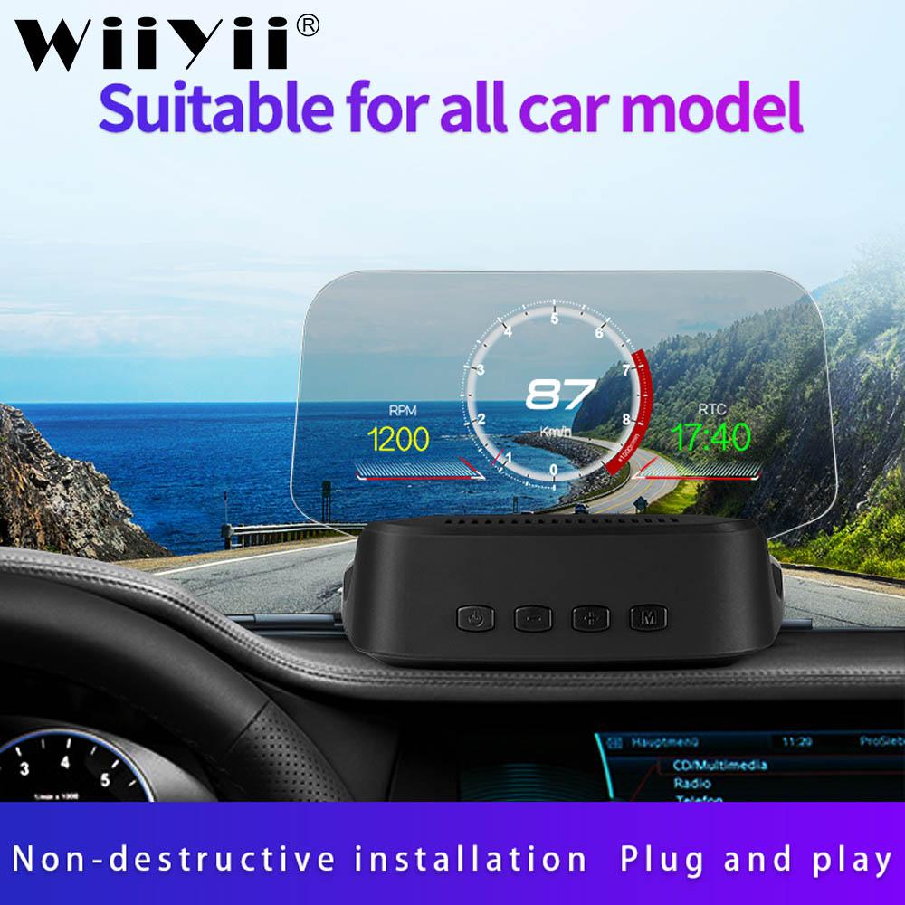 Espejo C2 coche HUD Head up display GPS navegación OBD2 escáner a bordo ordenador Bluetooth GPS velocímetro proyección China nuevo