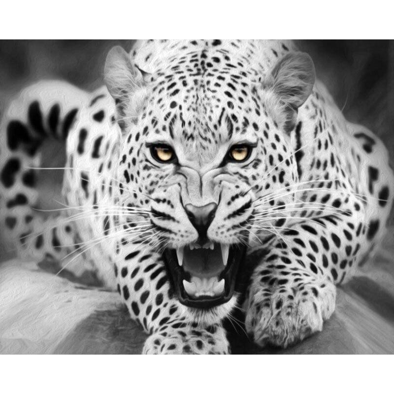 Leopardo preto diy emoldurado pintura decorativa por número kits diy óleo lona coloração por números pintura digital decoração da sua casa