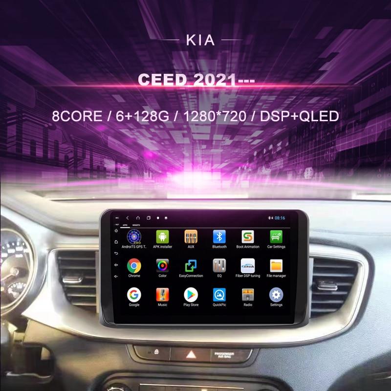 Автомобильный DVD-плеер для KIA CEED 2021 --- автомобильное радио, мультимедийный видеоплеер, навигатор GPS, Android 10,0, двойной din