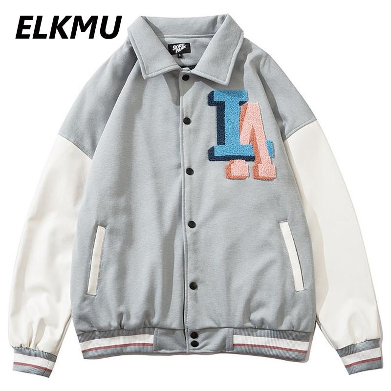 ELKMU-سترة بيسبول كبيرة الحجم ، ملابس الشارع ، الهيب هوب ، حروف ، تطريز ، أزرار ، معاطف رجالية ، ملابس خارجية ، HE574
