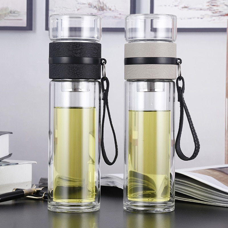 500ML Glass Water bottles for dink tea with infuser  Double Wall Bottle for water brief Portable out
