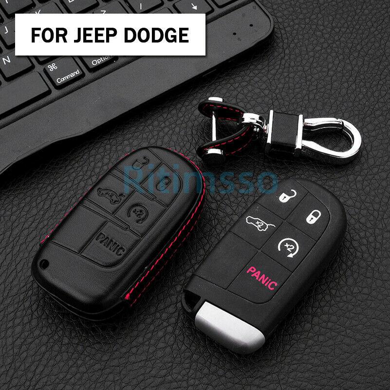 Couro remoto carro chave fob capa caso escudo para jeep grand cherokee renegado para dodge charger challenger dart viagem chrysler