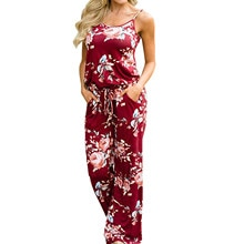 Women casual loose rompers Summer Fashion Sexy Matching flowers Printed Beach Jumpsuits Straps corse