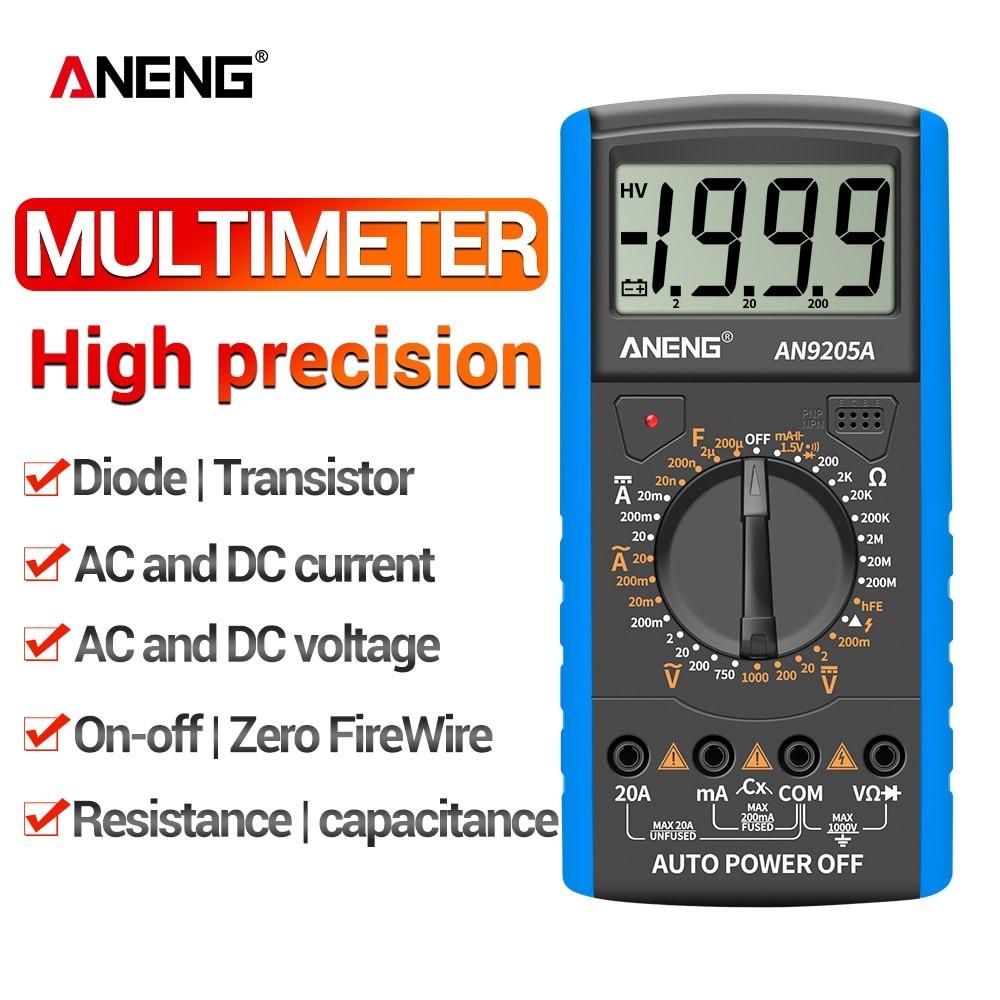 Мультиметр ANENG AN9205A, 1999 отсчетов, ЖК-дисплей, Автомобильный цифровой тестер сопротивления, портативный вольтметр, детектор переменного/пост...