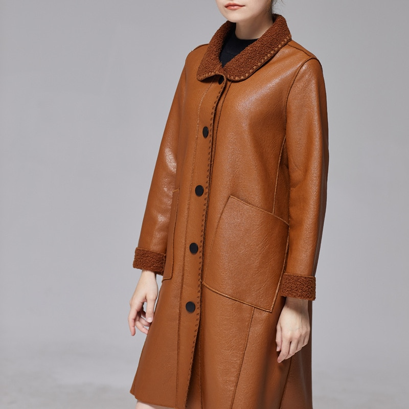 2020 New women's leather clothes, medium and long, slimming fur size, leisure temperament, loose leather clothes, women's coats. enlarge