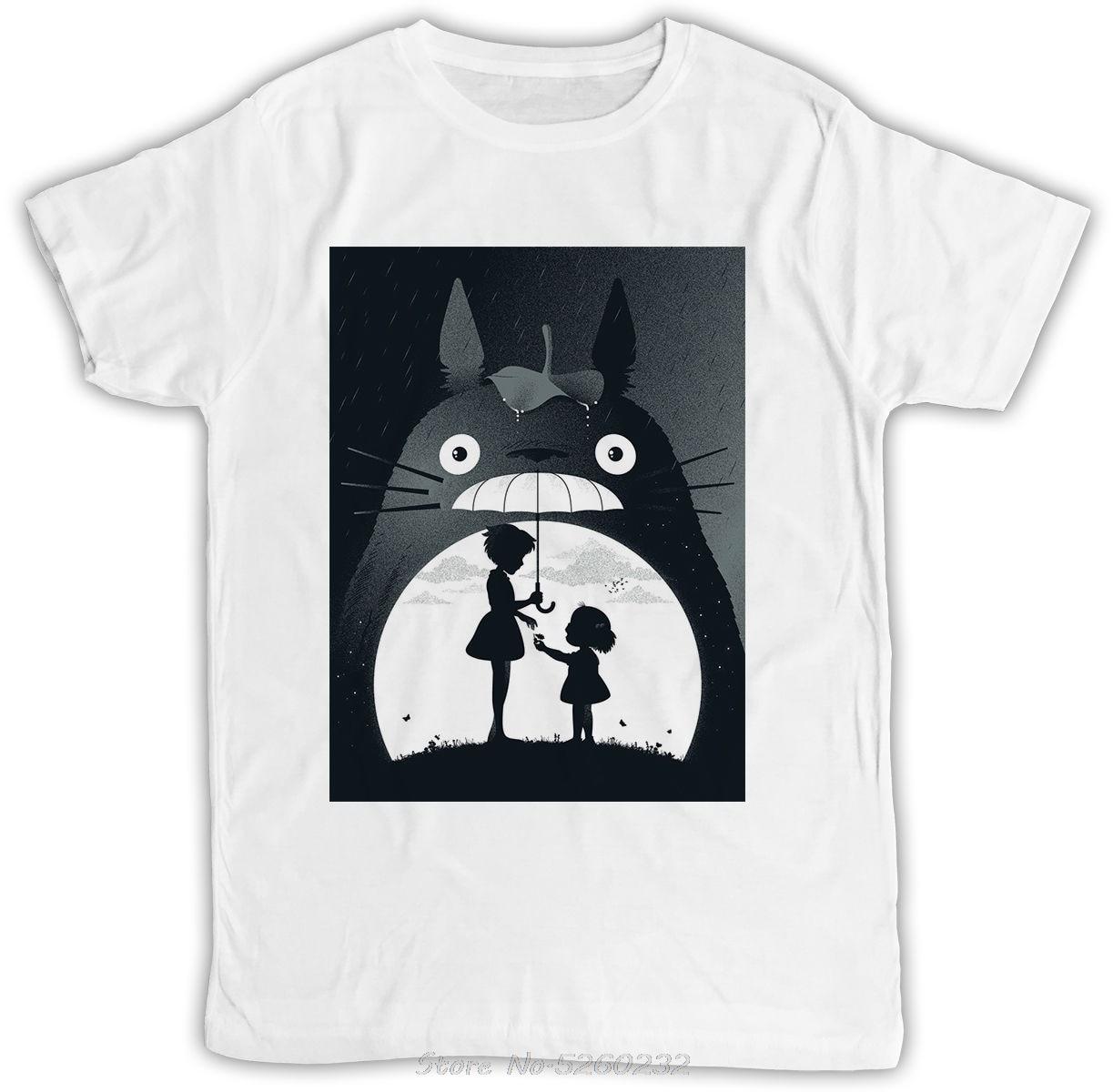 Póster de Totoro mi vecino IDEAL regalo de cumpleaños regalo fresco RETRO divertida camiseta suelta de algodón camisetas para hombres COOL camisetas