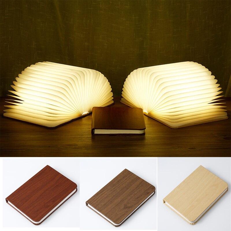 De libro de madera lámpara portátil USB recargable LED magnético plegable colorido luz de la noche de la lámpara de escritorio de Navidad decoración del hogar