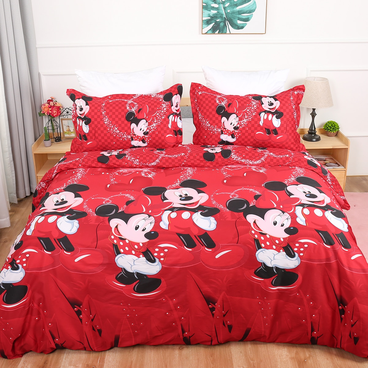 Disney Mickey Minnie Bettwäsche set 100% Baumwolle Rot Mickey Bettbezug Kinder Bett Set Einzigen königin könig größe bettwäsche
