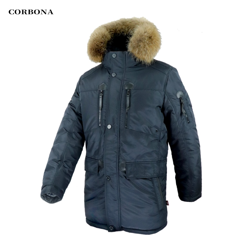 CORBONA 2021 Oversize Real Fur Cotton Lining Man's Winter Coat Multi Pockets Temperature Visualization Casual Fashion Male Parka
