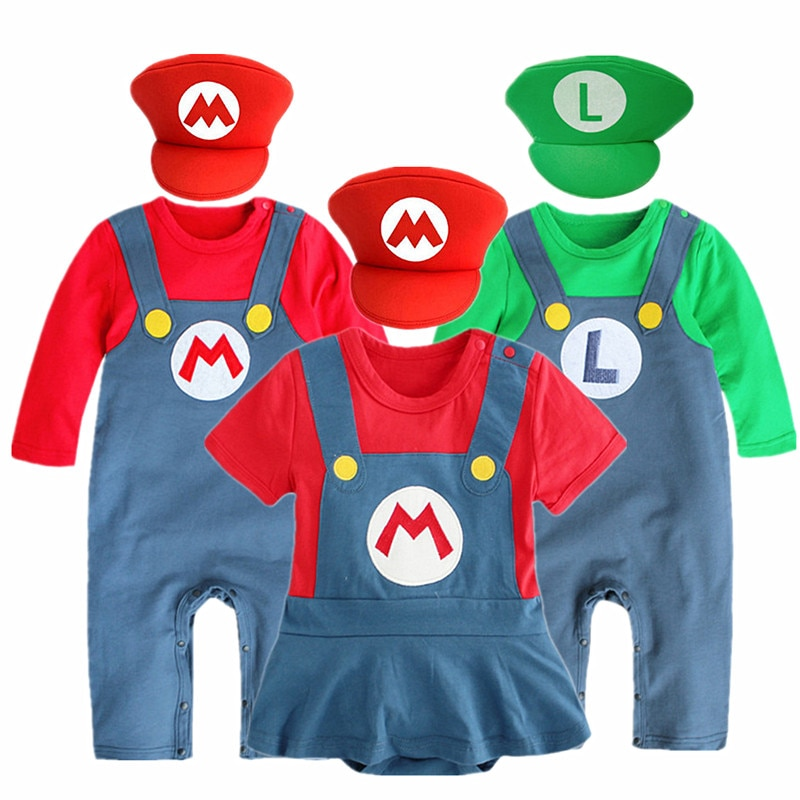 0-2Y Baby Anime Cosplay Crawling Suit Super Mari Bros Cosplay Kid Funny Dance Costume Hat Gifts