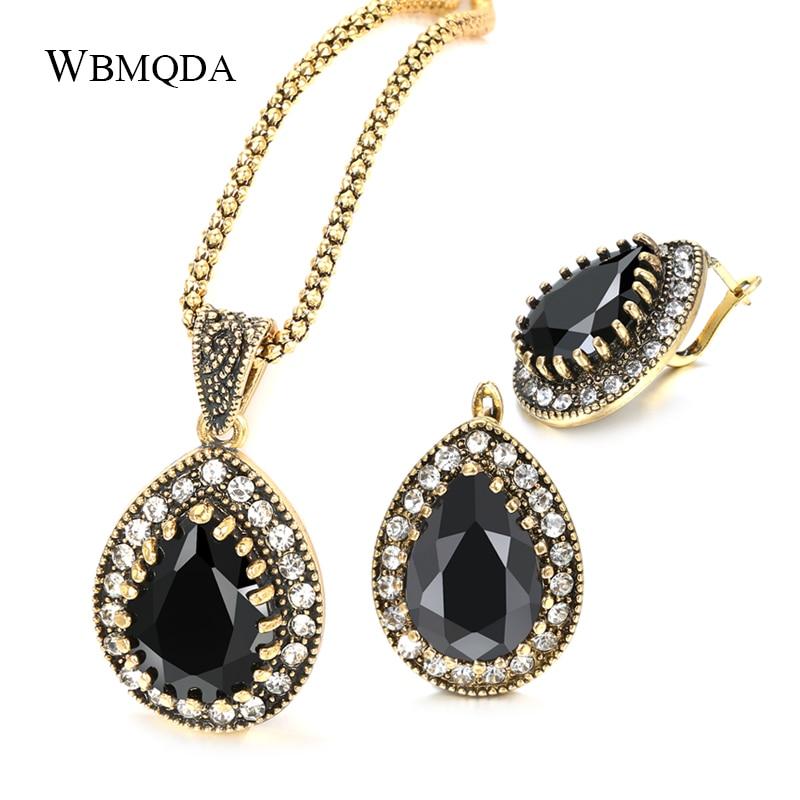Женский комплект ювелирных изделий Wbmqda, серьги с черным камнем и золотым кристаллом в стиле ретро, 2020