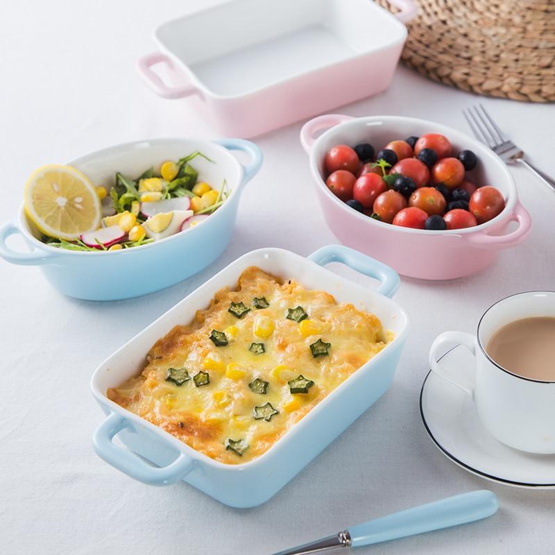 Cuenco para hornear arroz horneado, horno microondas creativo De cerámica para el hogar, resistente a altas temperaturas, mango especial doble para hornear queso