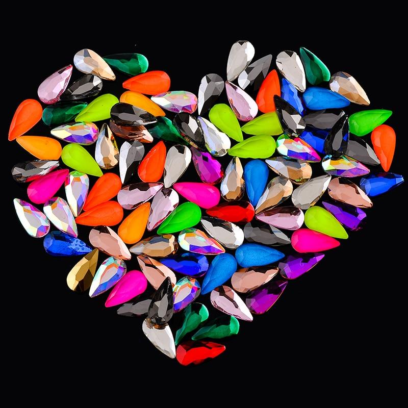 20p cor de néon 4x8mm pêra flatback glitter pedra cristal vidro unhas strass jóias decoração da arte do prego manicure acessórios