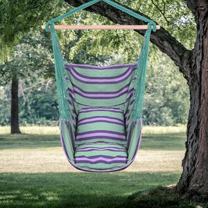 Distinctive Cotton Canvas Hanging Rope Chair with Pillows Green