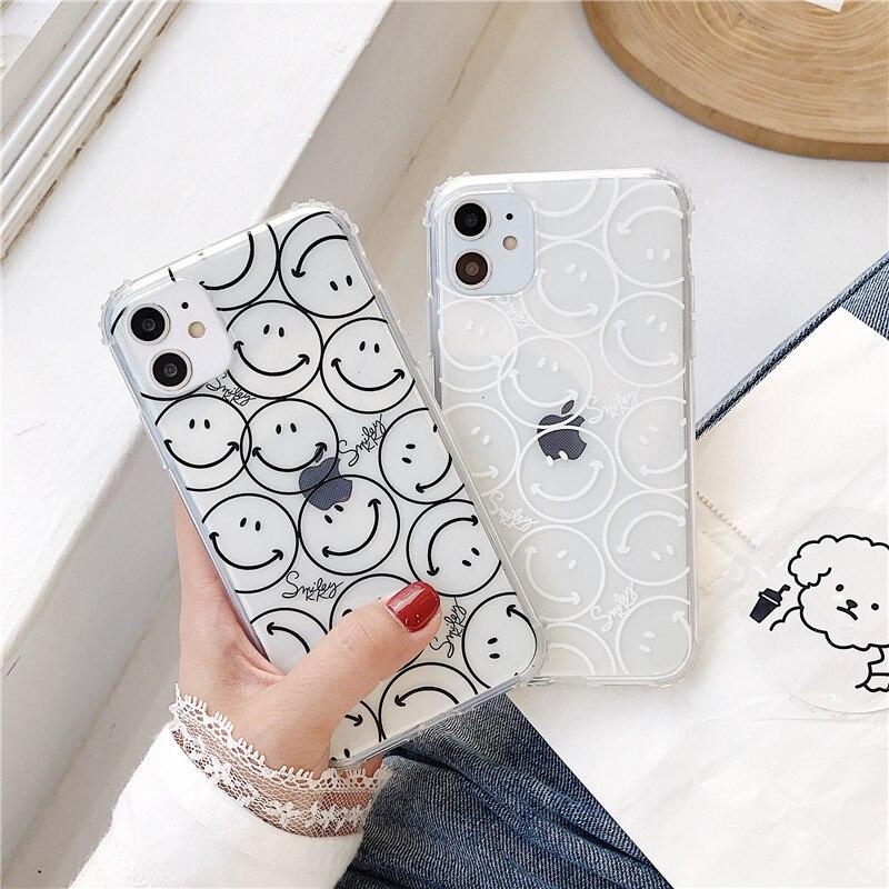 Bonito smiley pintura clara caso do telefone para o iphone 11 pro max 7 8 plus capa macia simples dos desenhos animados para o iphone x xr xs max voltar casos
