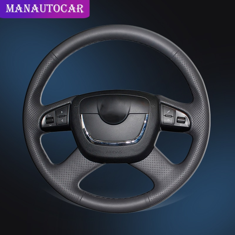 Car Braid On The Steering Wheel Cover for Skoda Octavia Octavia a5 a 5 Superb 2012 2013 Fabia 2010-2014 Auto Wheel Cover Leather