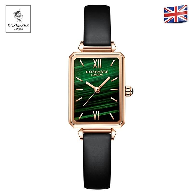 Green Malachite Japan Quartz Movement Roma Vintage Ladies Wristwatches Dropshipping Women Stainless Steel Mesh Rose Gold Watches enlarge