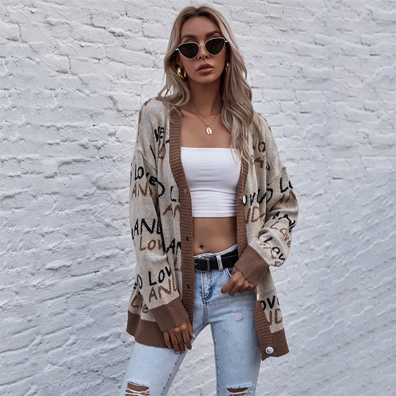 W 2021 autumn knitted letter street fashion tops long sleeve sweater coat female New dresses for women casual enlarge