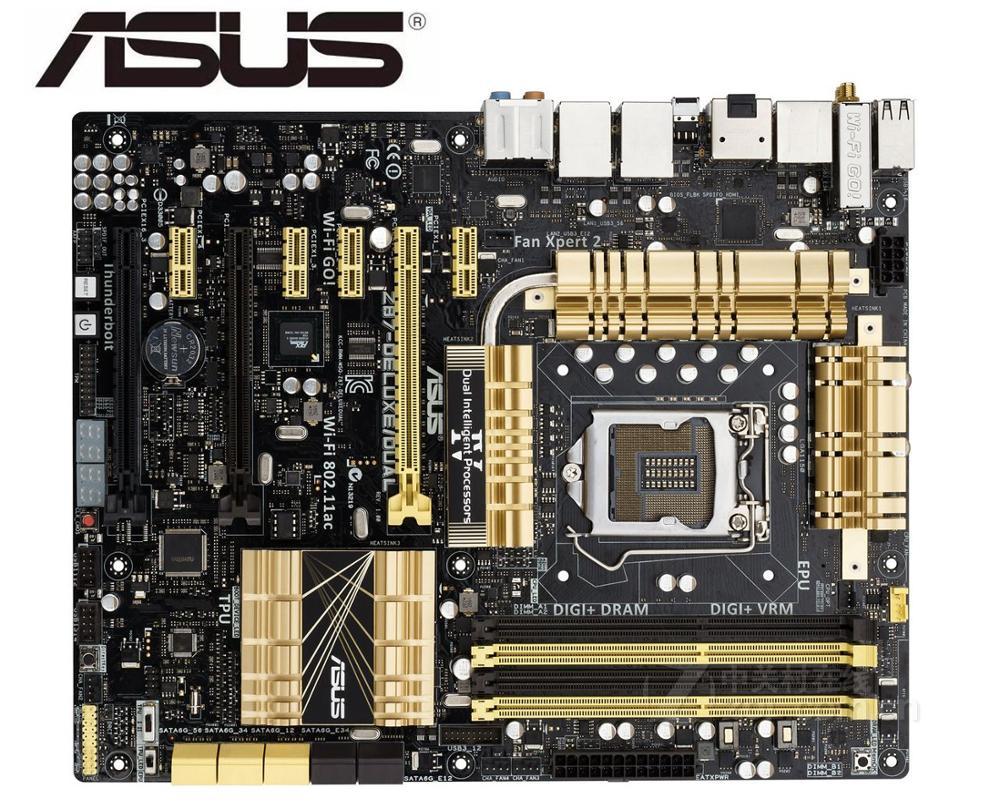 Placa base Asus Z87-DELUXE, placa base de escritorio usada DUAL, LGA 1150 DDR3 SATA3 USB 3,0 ATX