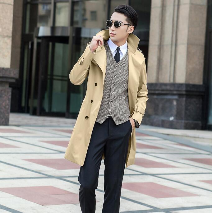 معطف واق من المطر للرجال بأزرار مزدوجة ، معطف طويل رقيق ، ملابس رجالية ، معطف ضيق بأكمام طويلة ، تصميم جديد لفصل الربيع ، بيج ، كاكي