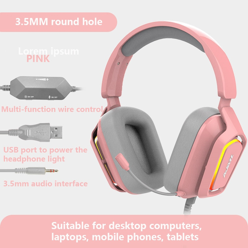 New product AX368 head-mounted pink wired gaming headset HD mic RGB lighting 7.1-channel multi-function wire-controlled headset enlarge
