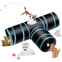 pet cat rabbit tunnel tube toy 3 way collapsible indoor kitty bored peek hole extensible play tent interactive maze house puppy