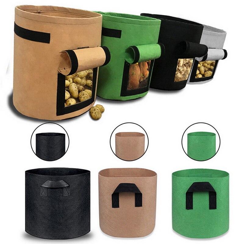 1-10 galão de tecido, sacos de crescimento, vasos respiráveis, recipiente para raízes, potes práticos para plantas com alça, material de jardim