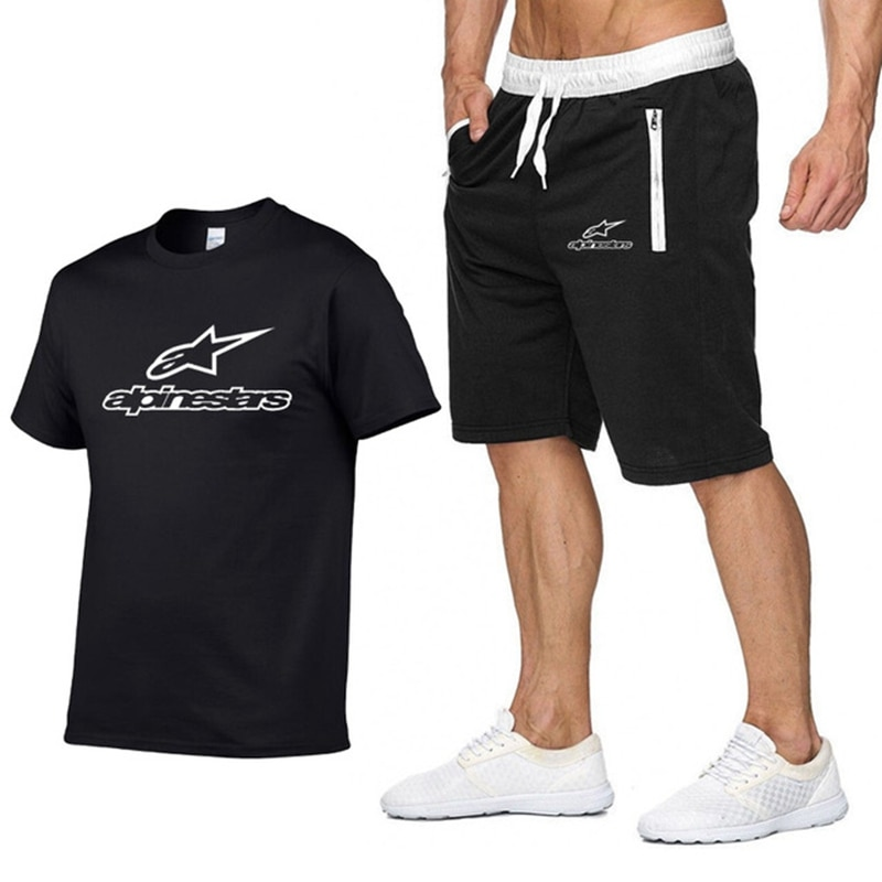 2021 Summer Cotton Men's Funny Casual Short-Sleeved Solid Color Unisex Round Neck Hip-hop T-shirt Sports Top +Shorts 2 Piece Set