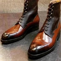 men pu leather shoes low heel casual shoes dress shoes brogue shoes spring ankle boots vintage classic male casual zq0220