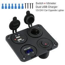 12V Multifunctional 4 in 1 Car Cigarette Lighter Socket Dual USB Port Charger Voltmeter Panel