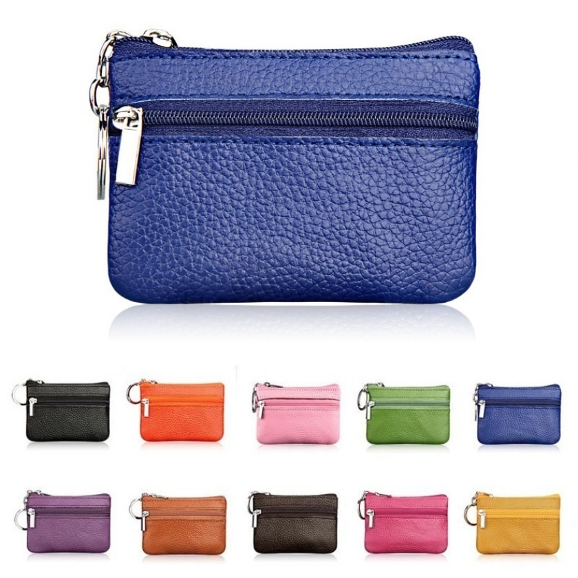Fashion Genuine Leather Women Wallet Clutch One/Two Zip Female Short Small Coin Purse Brand Design S