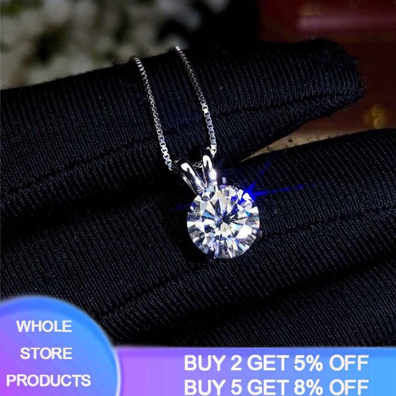 Yanhui solitaire 8mm 2ct zircônia pingente de diamante colar 925 prata sólida gargantilha colar de prata feminino prata 925 jóias
